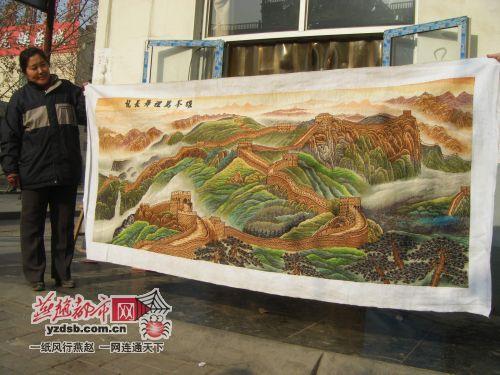 石市女老板8个月绣十字绣 万里长城 图高清图片