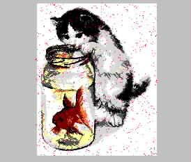 猫钓金鱼 乱针绣精品