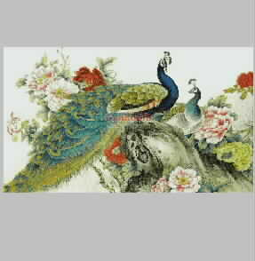 Peacock Chinese traditional auspicious boutique peony flowers embroidery pattern album