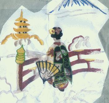 人物 日本富士山和服女