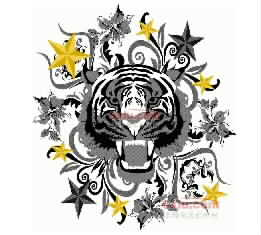 Tiger Head Men's Clothing embroidery pattern album
