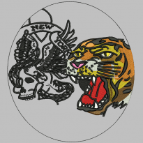 Skeleton tiger head embroidery pattern album