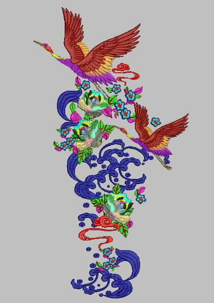鹤 汉服绣花版带图片
