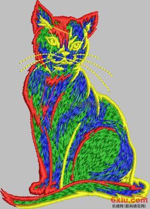 猫免费花样绣花花样版带下载
