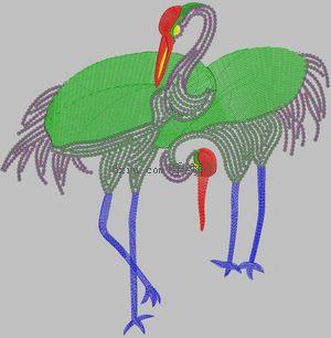 Special Use of Crane Bird Cartoon Pearl Piece Garment embroidery pattern album