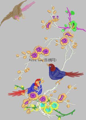 鸟语花香绣花花样版带下载