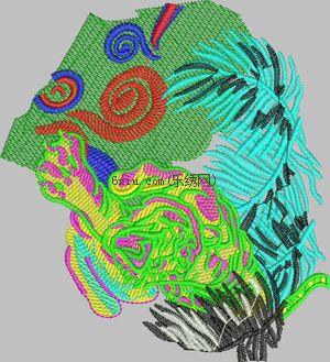 Tiger descends embroidery pattern album